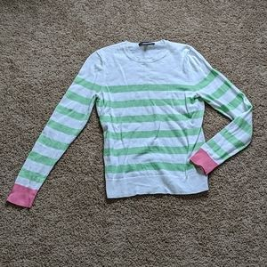 Brooks Brothers pink green white crew neck sweater